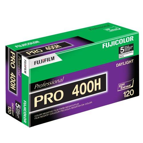 Fujifilm Pro 400H Fujicolor Pro 120, Pelicula Color 400H ISO 400 , paquete de 5 (Verde/Blanco/Morado)