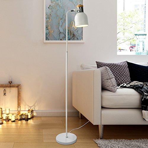 MILUCE Lampe de plancher Nordic Modern Simple LED Salle de lecture Salon Canapé de bureau Lampe de bureau Bureau d'étude Bureau d'étude Lumière verticale (Couleur : Blanc chaud)