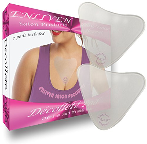 Enliven Salon Products Anti Wrinkle Chest Pads, Cream Less Skin Care At Its Finest, 2 Hypoallergenic Silicone Chest Wrinkle Pads That Rejuvenate The Decollete, and Repair Fine and Deep Chest Wrinkles