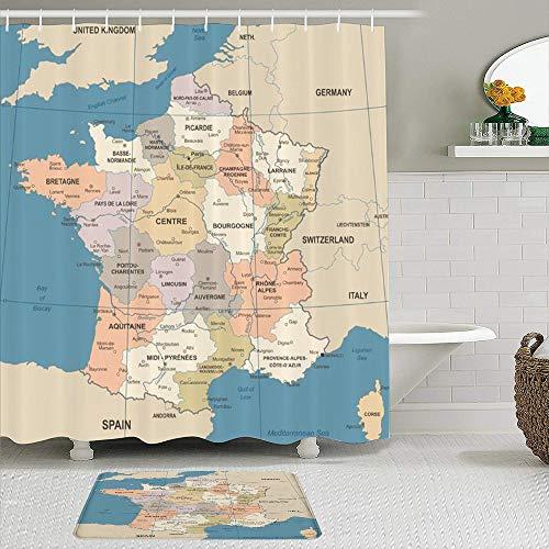 ZhangyJ Ensemble de 2 Rideaux de Douche et Tapis,France Carte Vintage Pays Lyon Détaillée Roug,Tapis antidérapants,Rideaux de Bain imperméables avec 12 Crochets
