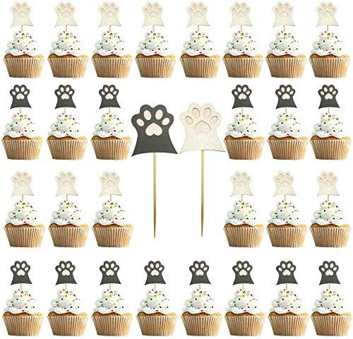 30PCS Cat Paw Cake Topper Pet Glitter Cat Claw Cupcake Toppers for Pet Birthday Animals Theme product image