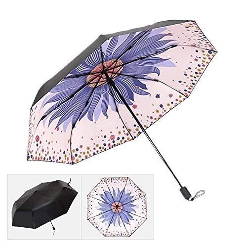 xinrongqu Regenschirm Echter Schwarzer Kunststoff Frische Sonnenschirm Sonnenschutz Uv Regen Dual-Use Taschenschirm Damen Regenschirm Rosa 57 * 8 Karat