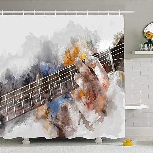 Conjunto de cortina de ducha con ganchos Concierto Rock Pintura abstracta Guitarrista Hermosa banda Hombre tocando tambor Guitarra acústica Discoteca Impermeable Tela de poliéster Decoración de baño p