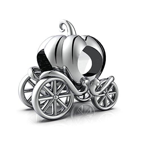 Cinderella Pumpkin carriage charm Pulsera de abalorios, plata de ley 925