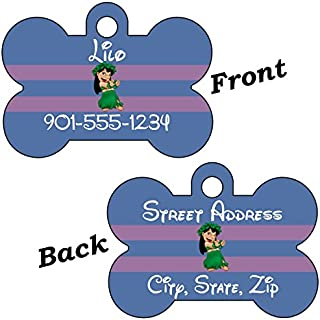 uDesignUSA Disney Lilo & Stitch Double Sided Pet Id Dog Tags Personalized with 4 Lines of Text