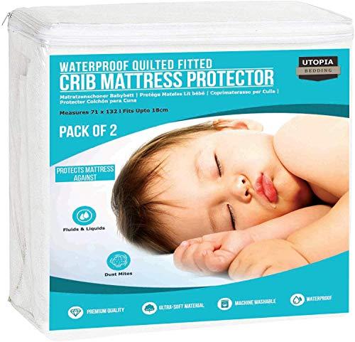 Utopia Bedding Coprimaterasso per Culla Impermeabile (Set di 2) - Protezioni Materasso per Lettino (70 x 132 x 18 cm)