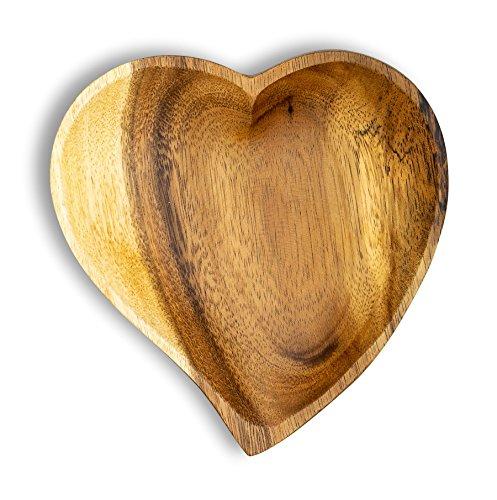 levandeo Holzschale Akazie 15cm Herz Design Snackschale Schale Obstschale Obstkorb Tischdeko Deko