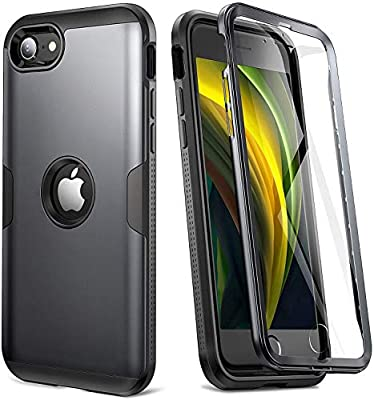 YOUMAKER [2020 Upgraded] iPhone SE 2020 Case, Full Body Rugged with Built-in Screen Protector Heavy Duty Protection Slim Fit Shockproof Cover for iPhone SE 2020 Case 4.7 Inch (2020) - Black/BK