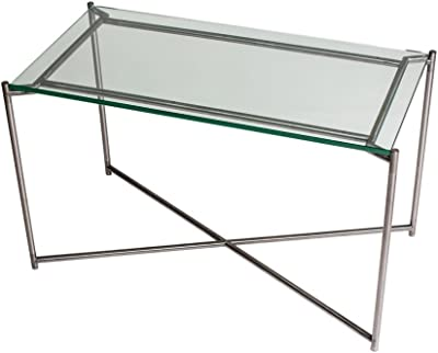 Gillmore Space Cristal Mesa Rectangular con Base Cruz metálica de ...