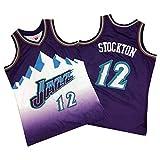 CLKI Jazz # 12 Basketball Jersey, ĵohn Stockton 1996-1997 Jersey, Camiseta Deportiva al Aire Libre de los Hombres Transpirable Chaleco de Malla Transpirable Purple-L