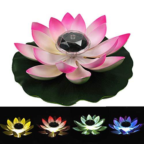 Delleu Solar Power Energy Schwimmen Lotus Blume LED-Akzentlicht für Pool Teichgarten Nachtlicht