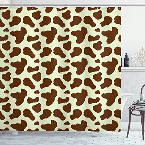 ABAKUHAUS Cow Print Douchegordijn, Vee huid met Spot, stoffen badkamerdecoratieset met haakjes, 175 x 200 cm, wit Bruin