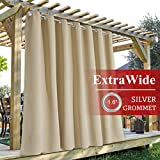 StangH Outdoor Curtain Panels - Extra Wide 100 inches Blackout Patio Curtains Outdoor Waterproof Drapes Farmhouse Curtains for Back Deck/Lanai/Porch/Pool Hut, Biscotti Beige, W100 x L84, 1 Panel