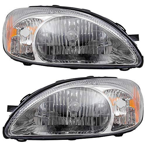 Brock Replacement Pair Set Halogen Headlights Headlamps with Chrome Bezel...