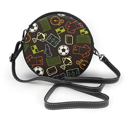 Sportliches nahtloses Muster mit Fußball-Symbolen, runde Umhängetasche, Reißverschluss, Schultertasche, weiches Leder, Kreis, Geldbörse für Damen, personalisierbar