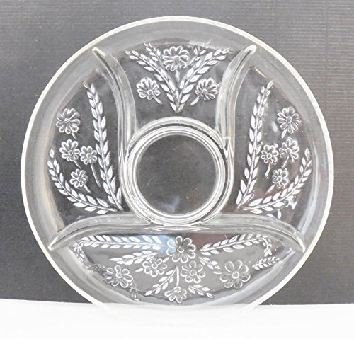 """Clear Glass Server With 5 Sections With Floral Pattern 11.5"""" Across"""