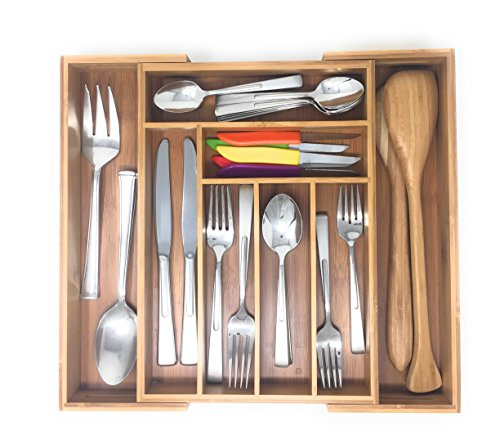 Brightways Home Expandable Bamboo Silverware Drawer Organizer- Use As a Cutlery Tray-Utensil Organizer-And Flatware Organizer