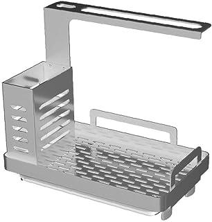 Évier Caddy évier Tidy Organisateur évier de cuisine Porte-Rack de rangement en acier inoxydable Argent Cuisine de stockage