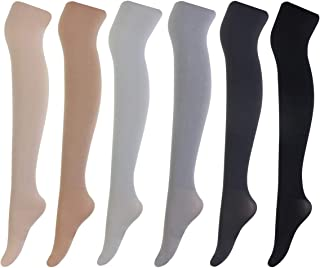 ZITA ELEMENT 2 Pairs Women's 100 Denier Control Top Opaque Footed Silky Pantyhose Stockings Solid Color Soft Tights