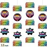 Boao 12 Piezas Banderas de Fiesta de Años 80 Decoraciones de Bricolaje de Fiesta de los 80 Bandera Colgante de Cinta de Cassette para Artículos de Fiestas de los 80 Fiesta Temática Retro