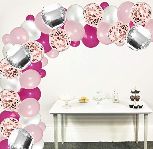 Blue Planet Fancy Dress Pink Balloon Arch Kit 115pcs Birthday Decoration Set, Latex Confetti Balloons Birthday Wedding Baby Shower Pink Silver Girls Women (Pink Set 115pcs)
