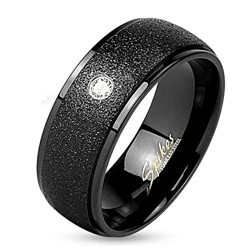 Bungsa® 60 (19.1) Schwarzer Ring mit sandgestrahltem Mittelteil und Kristallstein (Edelstahl Damen Herren Fingerring Partnerringe Verlobungsringe Trauringe...
