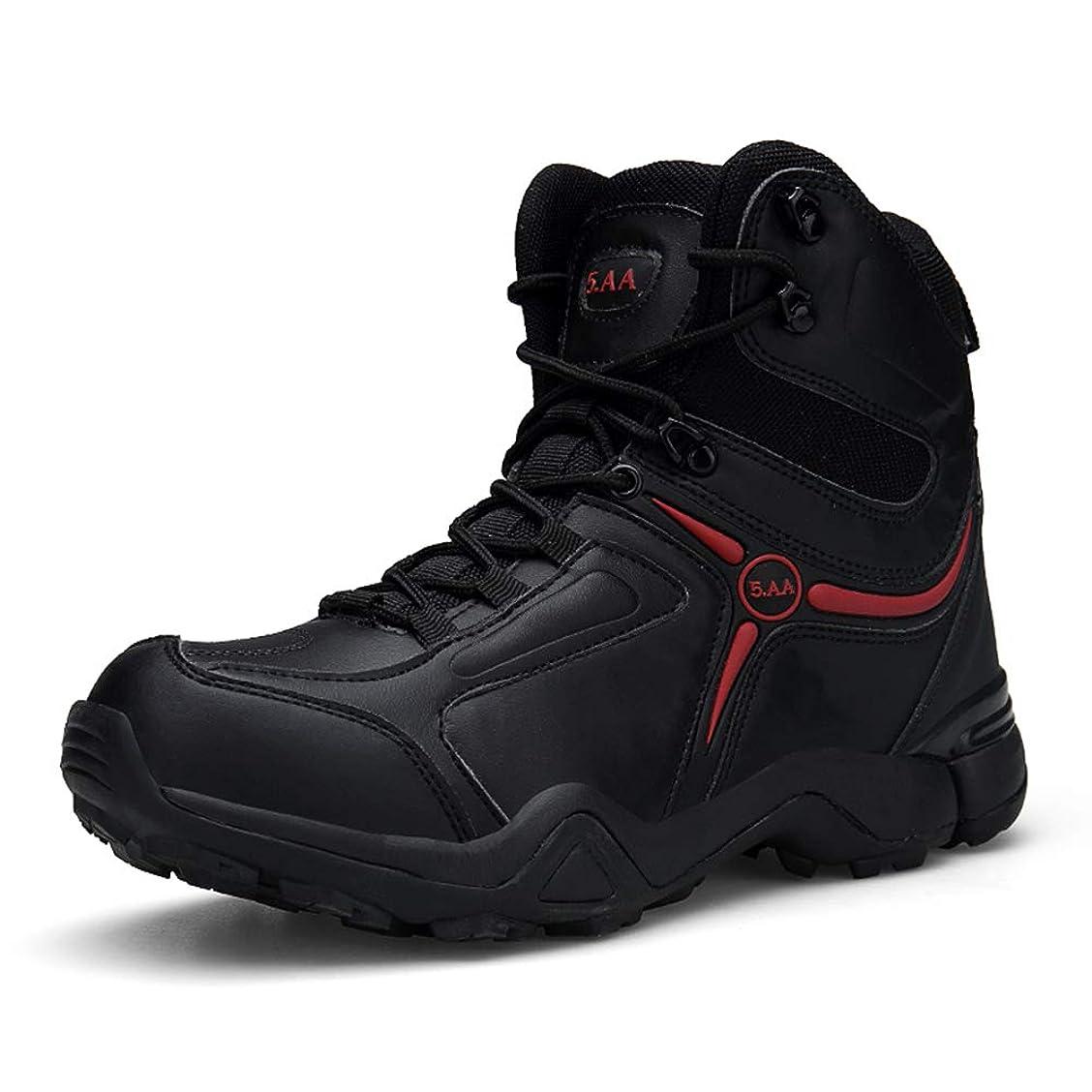 革新関与する笑男性のための黒の軍ブーツ、防水戦闘ブーツジッパーハイヘルプノンスリップ耐摩耗性タクティカルブーツ