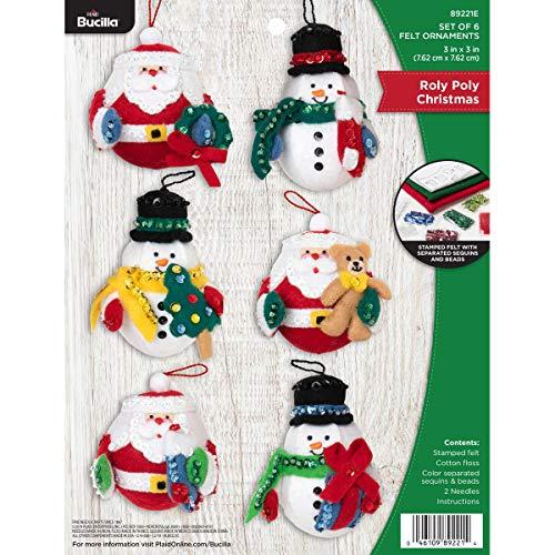 Bucilla Felt Applique Ornament Kit, 3' x 3', Roly Poly Christmas