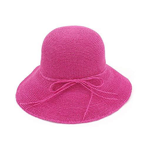 GWFVA Sonnenschutzhut Damen Sommer handgewebt faltbar breiter Krempe Fischer Stroh Sonnenhut Sommer Outdoor Hut (Farbe: lila)