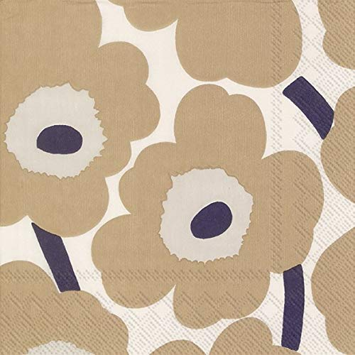 Ideal Home Range L552665 20 Count Paper Lunch Napkins, Marimekko Unikko Cream Linen