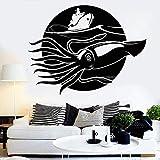 wZUN Calcomanías de Pared de Vinilo de Calamar Gigante Barco de Pesca en el mar Pegatinas de Pared de Estilo Marino Dormitorio decoración del hogar 55X42 cm