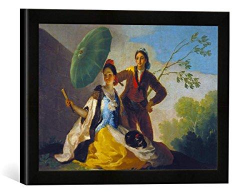 Gerahmtes Bild von Francisco José de Goya Der Sonnenschirm, Kunstdruck im hochwertigen handgefertigten Bilder-Rahmen, 40x30 cm, Schwarz matt