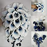 Navy Blue Ivory Calla Lily Bridal Wedding Bouquet Accessories