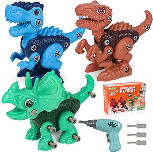 Juguete Montaje Dinosaurio Niños Dinosaurio Montar Desmontar Dinosaurios Construccion con Destornillador Eléctrico Tyrannosaurus Triceratops Velociraptor Stem Juguete Regalo para Niños 4 5 6 7