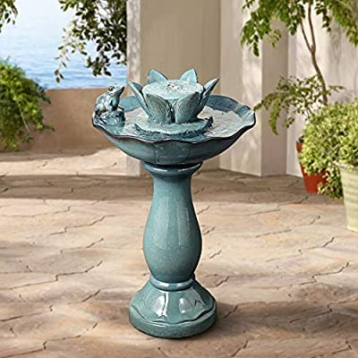 """John Timberland Pleasant Pond Frog Lotus Modern Outdoor Floor Water Bubble Fountain 25 1/4"""" High Scalloped Pedestal Bowl for Yard Garden Patio Deck"""