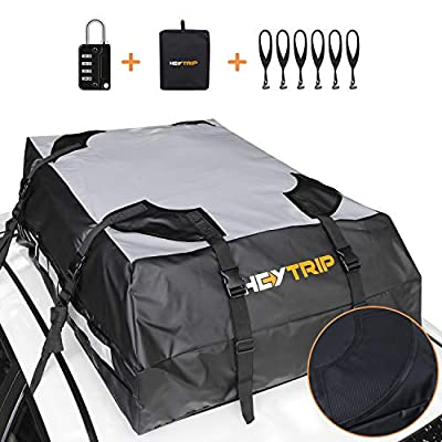 Heytrip Waterproof Roof Cargo Bag with Waterproof Zipper Closure & Built-in Protective Mats, 6 Door Hooks, Combination Lock, Storage Bag (15 Cubic Feet, Fits All Cars with/Without Rack)
