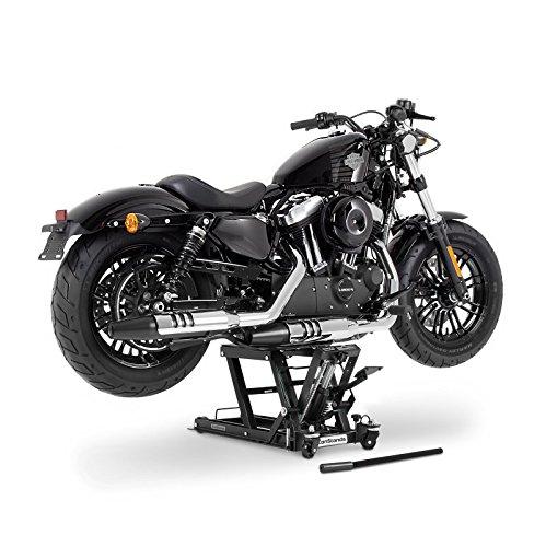 ConStands - Motorrad-Hebebühne für Harley Davidson Fat Boy/Special (FLSTFB)/ (FLSTF), Heritage Softail Classic/Special (FLSTC)/(FLSTN), Heritage Springer (FLSTS) Hydraulisch Sicherung Schwarz