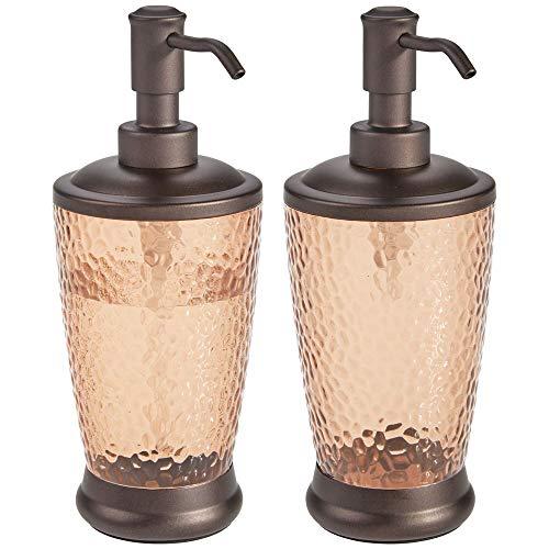 mDesign Juego de 2 dispensadores de jabón Recargables – Dosificador para jabón de plástico y Metal – Elegante Accesorio de baño o Cocina para jabón, loción o aceites – Color Arena y Bronce