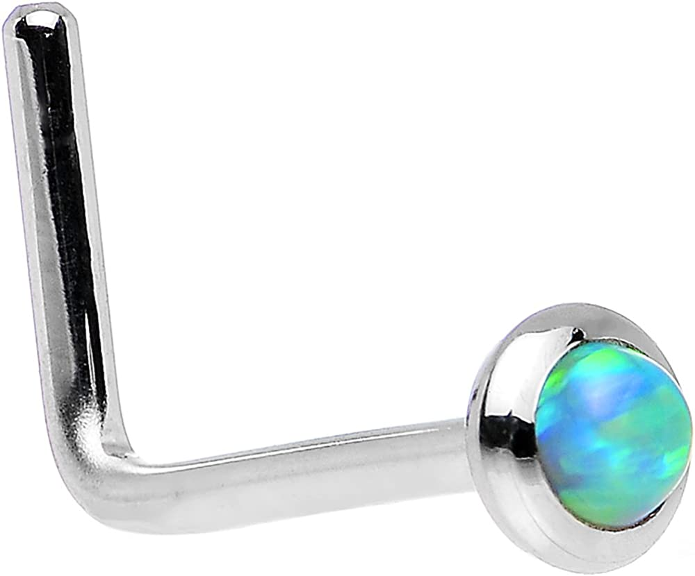 Body Candy 14k White Gold 2mm Lime Synthetic Opal L Shaped Nose Stud Ring 20 Gauge 1/4