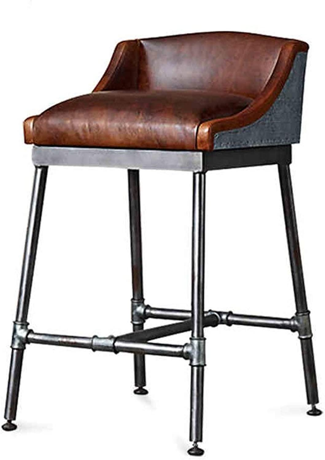 DDLD Bar Stools, Vintage Iron Art Bar Chair Industrial Style Dining Chairs Faux Leather Soft Padded Chairs with Backrest Strong and Durable for Breakfast Bar (Size   50  50  66CM)