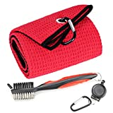 Mile High Life Microfiber Waffle Pattern Tri-fold Golf Towel | Brush Tool Kit with Club Groove Cleaner, Retractable Extension Cord and Clip (Red Towel+Red Brush)