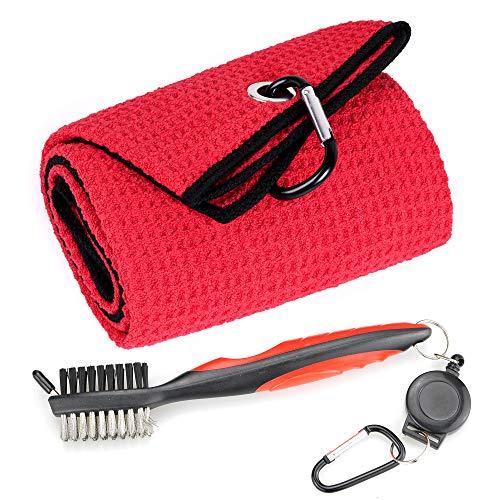 Mile High Life Mikrofaser-Golf-Handtuch mit Waffelmuster, dreifach gefaltet, Pinsel-Werkzeug-Set mit Schläger-Rillenreiniger, einziehbarer Verlängerungsschnur und Clip (rotes Handtuch + rote Bürste)