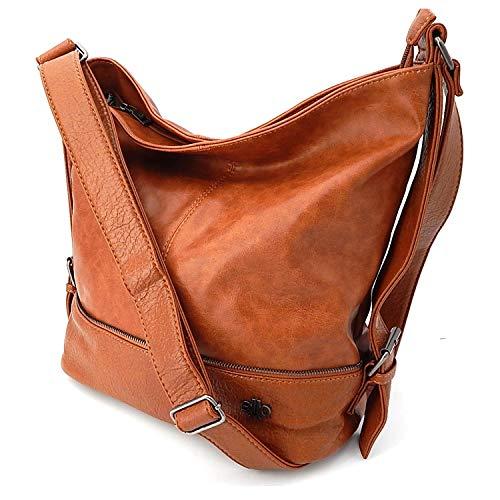 ekavale - Schultertasche für Frauen – Damentasche - Handtasche Groß Shopper aus Kunstleder (Cognac)