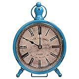 BELLE VOUS Vintage Reloj de Escritorio - 23x16,5cm Reloj de Mesa de Cuarzo Apenado - Estilo Francés Números Romanos Silencioso de Pilas Reloj de para Hogar y Decoracion