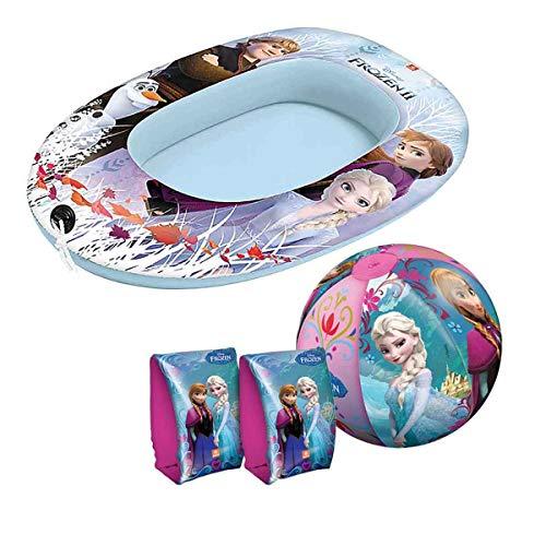 Aufblasbares Boot mit passenden Schwimmflügeln und Wasserball Disney Frozen Die Eiskönigin Anna und ELSA