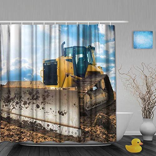 AYISTELU Duschvorhang,Cooler großer gelber Bagger,Bad Vorhang Waschbar Bad Vorhang Polyester Stoff mit 12 Kunststoffhaken 180x210cm