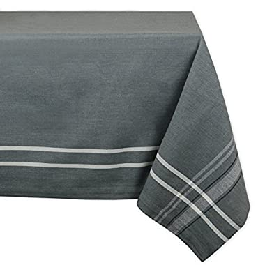 DII 100% Cotton, Machine Washable, Everyday French Stripe Kitchen Tablecloth For Dinner Parties, Summer & Outdoor Picnics - 60x104  Seats 8 to 10 People, Gray Chambray