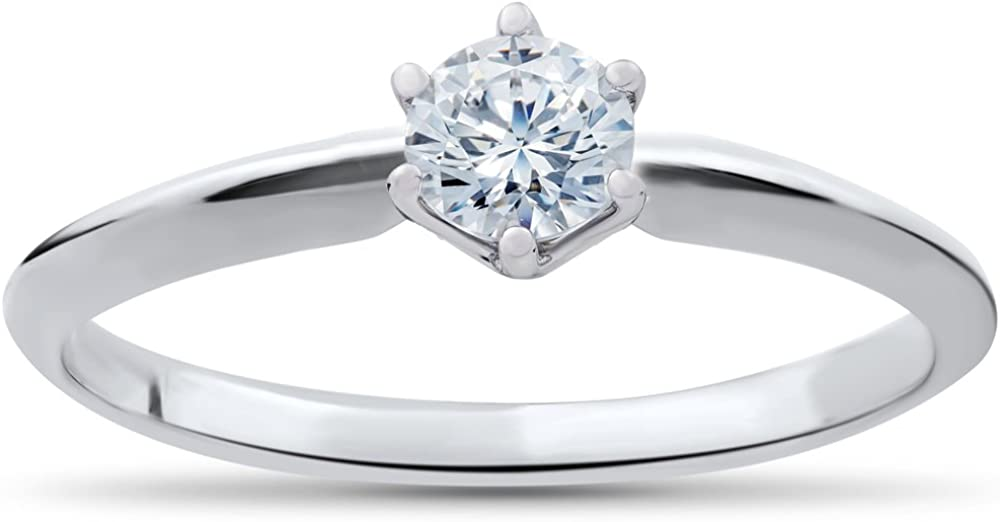 1/4ct Solitaire Diamond Engagement Ring 14K White Gold