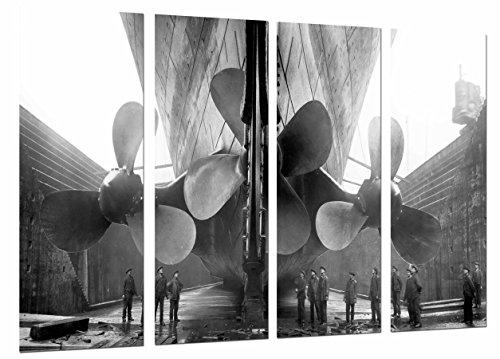 Cuadro Camara Fotográfico Barco Antiguo, Helices Gigantes, Vintage cine Titanic Tamaño total: 131 x 62 cm XXL, Multicolor