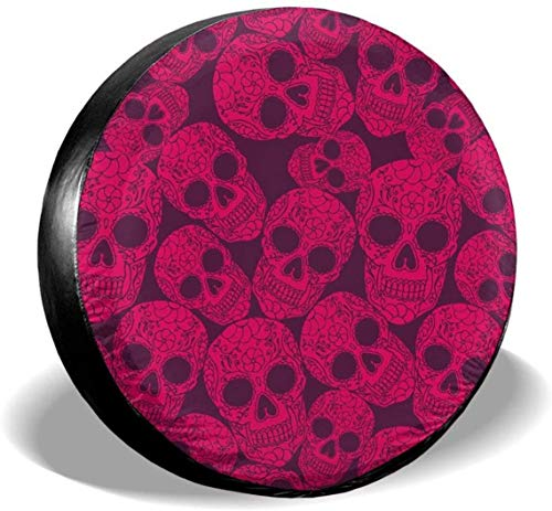 MODORSAN Pink Sugar Candy Lacquer Skulls Cubierta de neumático de Rueda de Repuesto Poliéster Cubiertas de Rueda universales para Jeep Trailer RV SUV Camión Accesorios, 14 Pulgadas